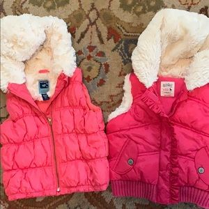 Two Old Navy 18-24 mo hooded puffer vests